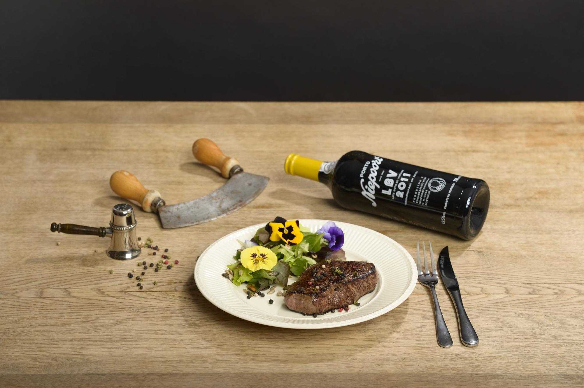Portwein Niepoort LBV Steak Pfeffer Wein-Food-Harmonie
