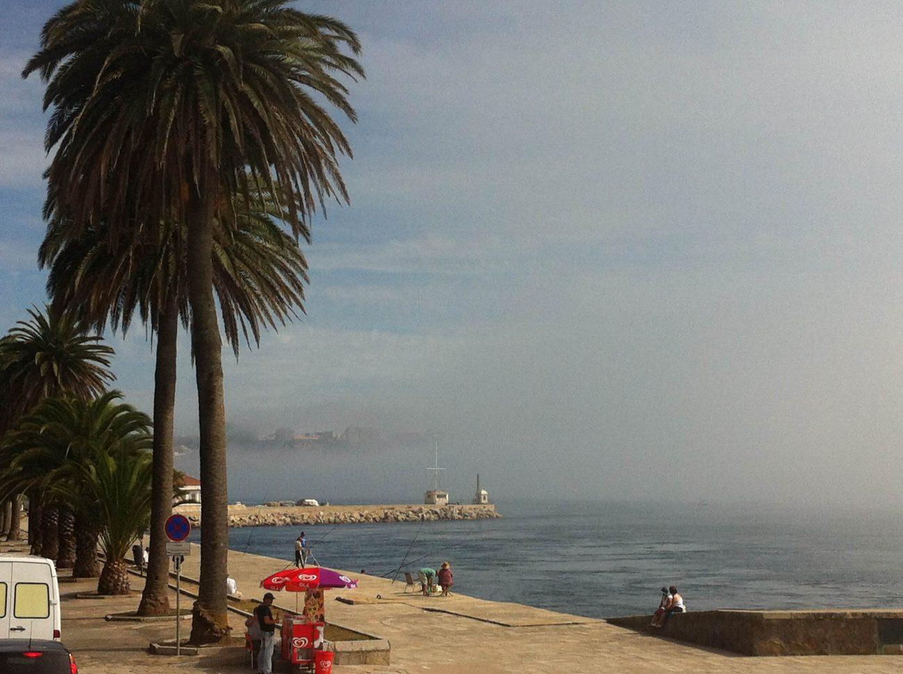 Der Nebel auf dem Douro-Fluss arbeitet sich vor