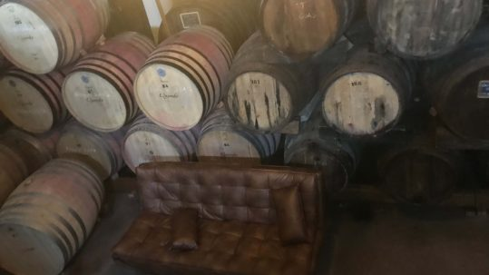 Weinsofa im Weinkeller mit Weinfässern bei Quevedo im Douro-Tal
